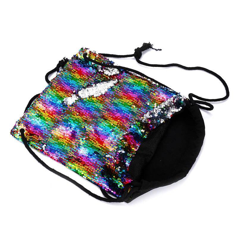 Sequin Drawstring Bags Reversible Sequin Backpack Glittering Shoulder Bags For Girls Women EIG88