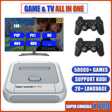 Super console x pro tv vídeo game console construir em 50000 + suporte de jogos wifi kodi plug and play console retro para psp/ps1/n64/dc