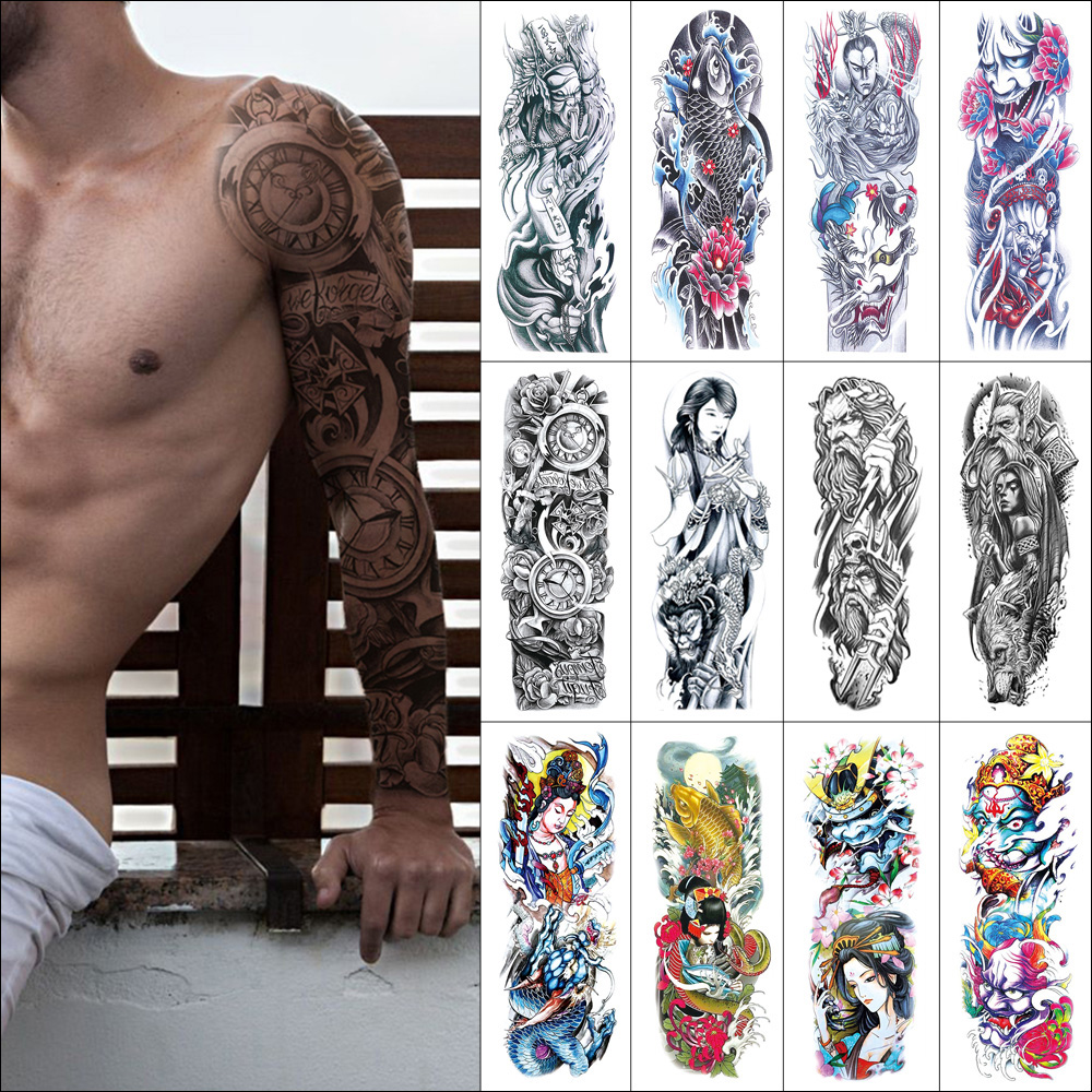 Temporary Waterproof Tattoo Sticker Bodhisattva Fish Flower Demon Clock Dragon Full Arm Fake Tattoos Large Size For Men Women
