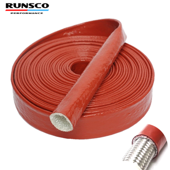 ID 4 6 8 10 12 15 20 25mm Red High Temperature Resistant Fire Retardant Casing Pipe Thicken Insulation Silicone Fiberglass Tube - sale item Auto Replacement Parts
