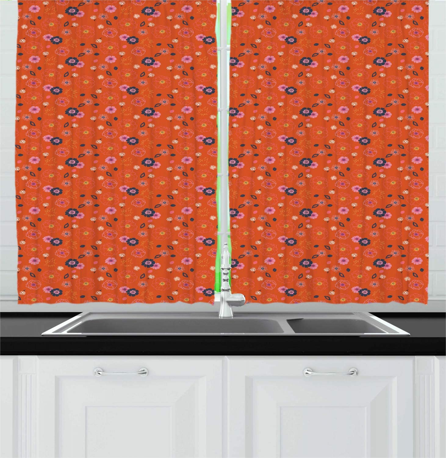 Burnt Orange Multicolor Spring Kitchen Curtains Meadow Flora Rural Blossoming Bouquets Aster Daisy Gardening Pattern Window Curtains Aliexpress