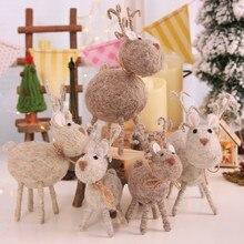 Cute Felt Deer Doll Christmas Ornament Handmade Unique Kid Gift Home Window Decoration Festive Party Supply