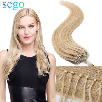 "SEGO 16""-24"" 0.5g/s 100Strands Straight Micro Bead Hair Extensions Human Hair Non-Remy Micro Loop Ring Natrual Blonde Hair"