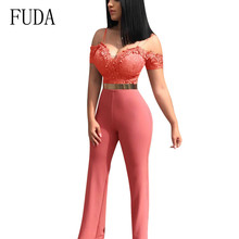 FUDA Fashion Casual Sexy Lace Applique Jumpsuits New Arrival Women Spaghetti Strap Sleeveless Hollow Out Playsuits Plus Size XXL