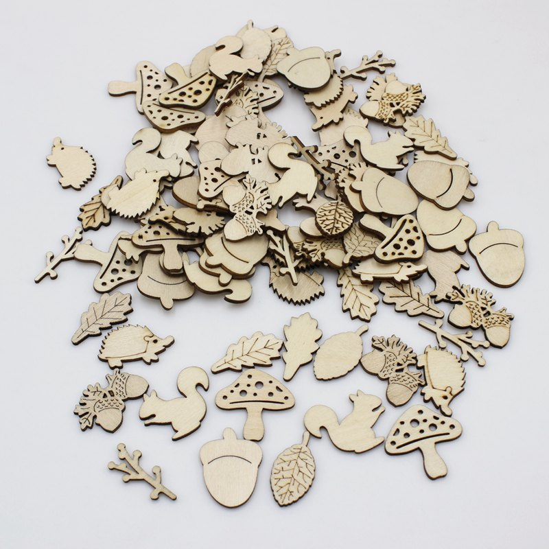 50pcs Wood Small Animals Laser Cut Out Natural Wood Pieces Children Handmade Scrapbooking DIY Party Wedding Decoration