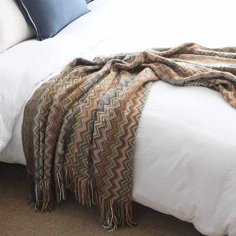 All Season Bohemia Knitting Tassels Blanket  for Adult Kids Travel Bedding Coverlet Recliner Cover