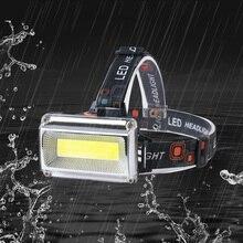 COB фары Открытый Кемпинг ночной езды водонепроницаемый налобный фонарь Портативный Перезаряжаемый Велосипедный свет