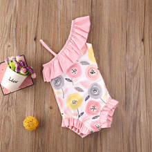 2020 New Kids Baby Girl One Shoulder Flowers Swimwear Swimsuit Outfit Piece