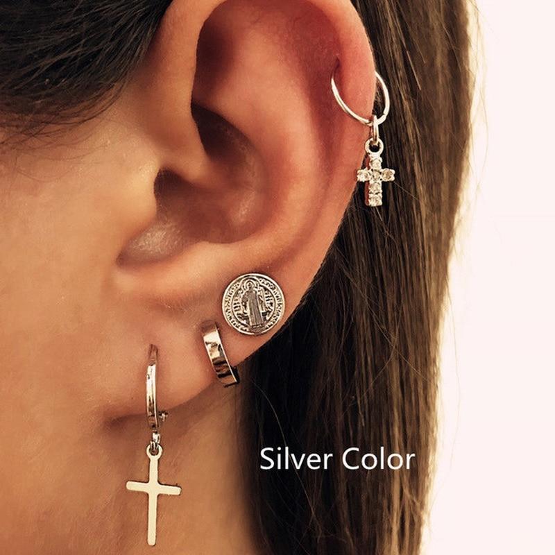 Fashion 4 pcs/set Cross earring jesus circle pendant earrings for women Cross earrings ladies accessories fashion jewelry