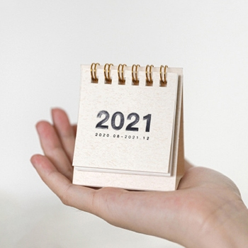 2021 Mini Desktop Paper Simple Solid Color Calendar Dual Daily Scheduler Table Planner Yearly Agenda Organizer 1