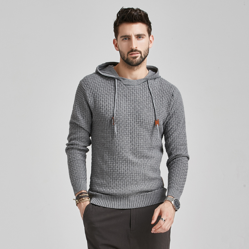 2020 New Men Winter Warm Hoodies Fashion Casual Knit Sweater Men High Quality Autumn Slim Hooded Men Sweater Pullover Coat 3
