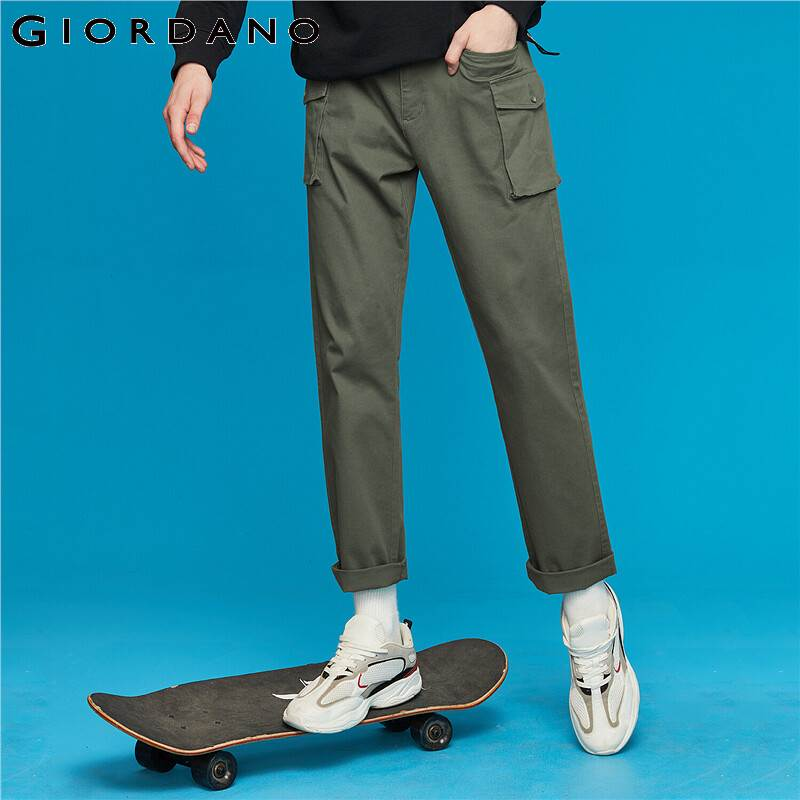 Giordano Men Pants Mid Waist Stretchy Cargo Pants Zip Fly Solid Trousers Full Length Pantalones Hombre 13119807