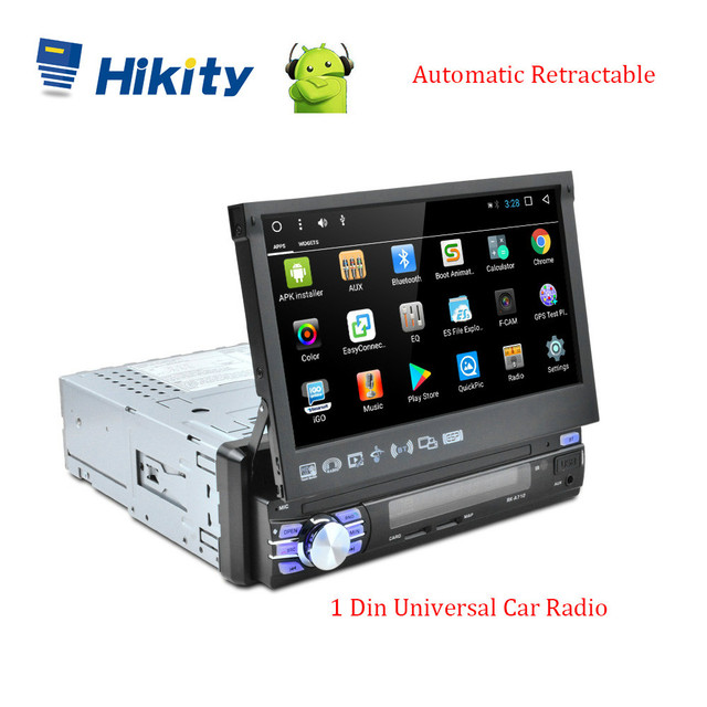 Hikity 1din Android GPS Navigation Player 7 Universa Car Radio Auto Retractable WiFi Car MP5 Multimedia Player Support Camera