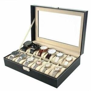 3/6/12 Slots Watch Box Leather Wrist Display Case Organizer Jewelry Storage Box