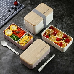 Domowe przenośne kwadratowe drewniane pudełko na lunch zwięzły dwuwarstwowy plastikowy ręczny pojemnik na lunch do mikrofali w Pudełka śniadaniowe od Dom i ogród na