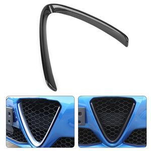 V-Shaped Front Grill Decoration Frame Carbon Fiber Fits for Alfa Romeo Giulia 2017 2018 2019 Car Exterior Decoration Black