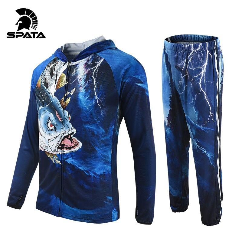 SPATA Fishing Jersey Men Long Sleeve Suit Breathable Carp Fishing Clothing Hoodie Coat Quick Dry Sun UV Protection Fishing Shirt