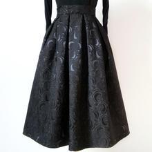 2020 autumn Ladies Black Jacquard Pleated Ball Gown Skater Midi Skirts Womens So