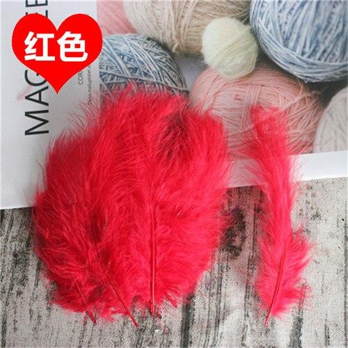 Натуральные Шлейфы 50 шт. 4-6 дюймов 10-15 см индейка перья марабу шлейф пышное свадебное платье DIY украшения аксессуары перья - Цвет: Red