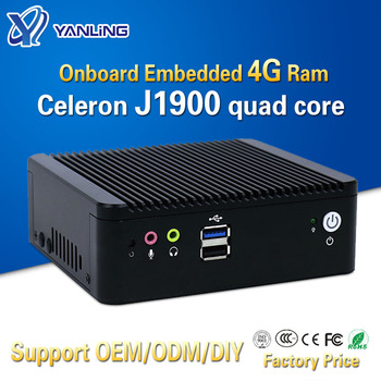 Yanling Low price mini pc box Onboard embedded 4gb ram with Intel Celeron J1900 support 2.5''HDD 2 lan 4 COM port thin computer