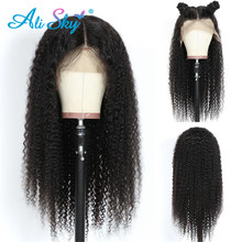 цена на Alisky Afro Kinky Curly Wig 13x6 Pre Plucked Lace Front Human Hair Wigs For Black Women Brazilian Remy Hair Lace Front Curly Wig
