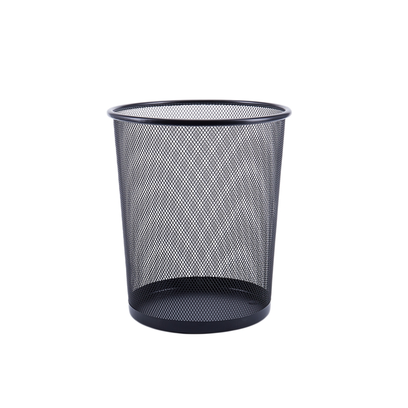 Office Can iron Mesh Waste Bin Wastebasket Rubbish Paper Net Trash Basket Black 26.5*23.5*18.5cm|Waste Bins| |  - title=