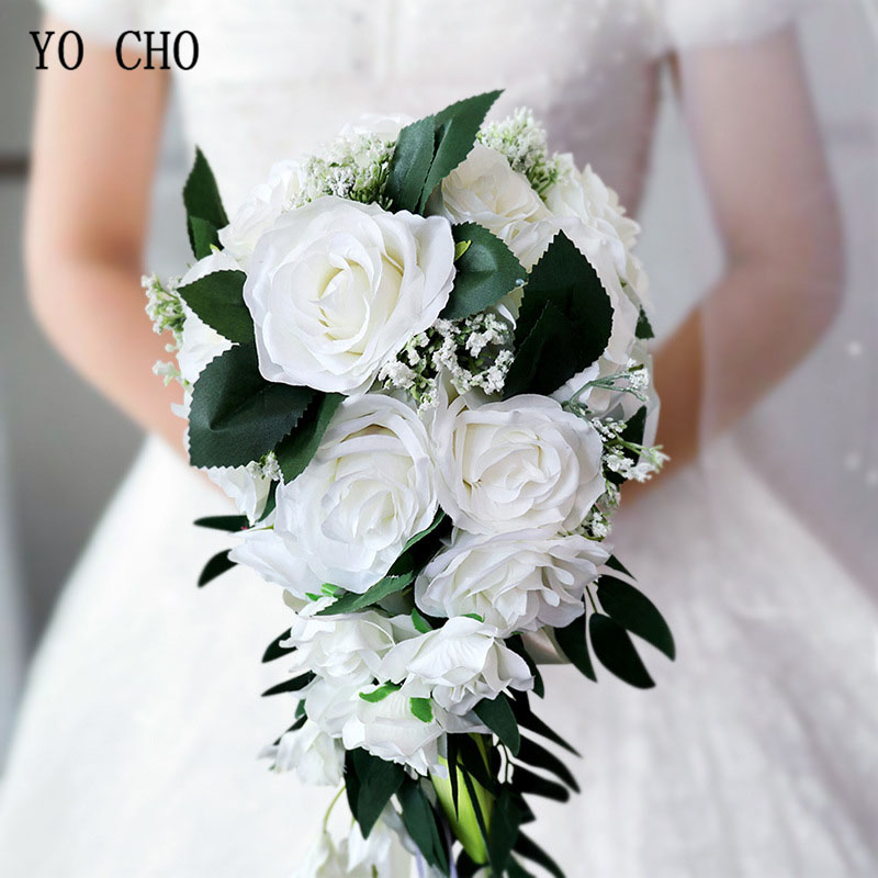 YO CHO Silk Rose Wedding Bride Bouquet Hand Hold Flower Decoration Holiday Party Supply European Waterfall Roses Wedding Bouquet