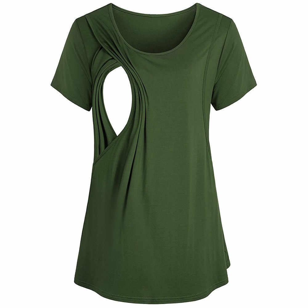 Frauen Stillen Kleidung Lose Mutterschaft Kleidung T-Shirt Sommer Kurzarm Schwangere Kleidung Pflege Stillen Kleidung