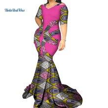 Vintage Vestido largo de sirena de Patchwork Bazin Riche Vestidos africanos de impresión para mujeres Vestidos de fiesta estilo africano ropa WY3338