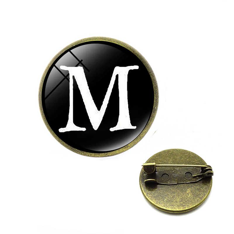 Huruf Cetak Kaca Cabochon Bros A Sampai Z 26 Alfabet Nama Laporan Pin Nama Huruf Awal Pria Wanita Fashion Perhiasan