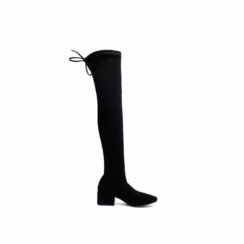 QUTAA 2020 Warme Pelz Lace Up Frauen Schuhe Runde Kappe Platz Ferse Stiefel Herbst Winter Stretch Flock Über Das Knie stiefel Größe 34-39