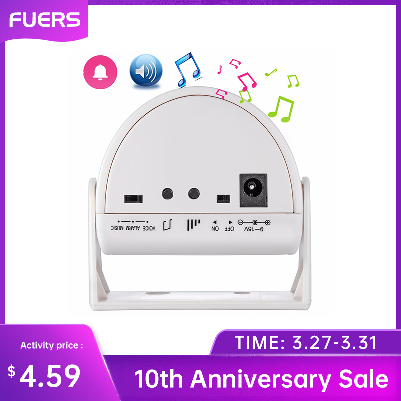 Fuers Security Wireless Door Bell Welcome Chime Alarm Music Switch PIR Motion Sensor Home  Shop Hotel Entry Security Doorbell