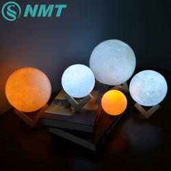 Светодиодный светильник с 3D-принтом Луны, сенсорный выключатель, светодиодный ночник для спальни, новинка, светильник для малышей, детей, Ро...