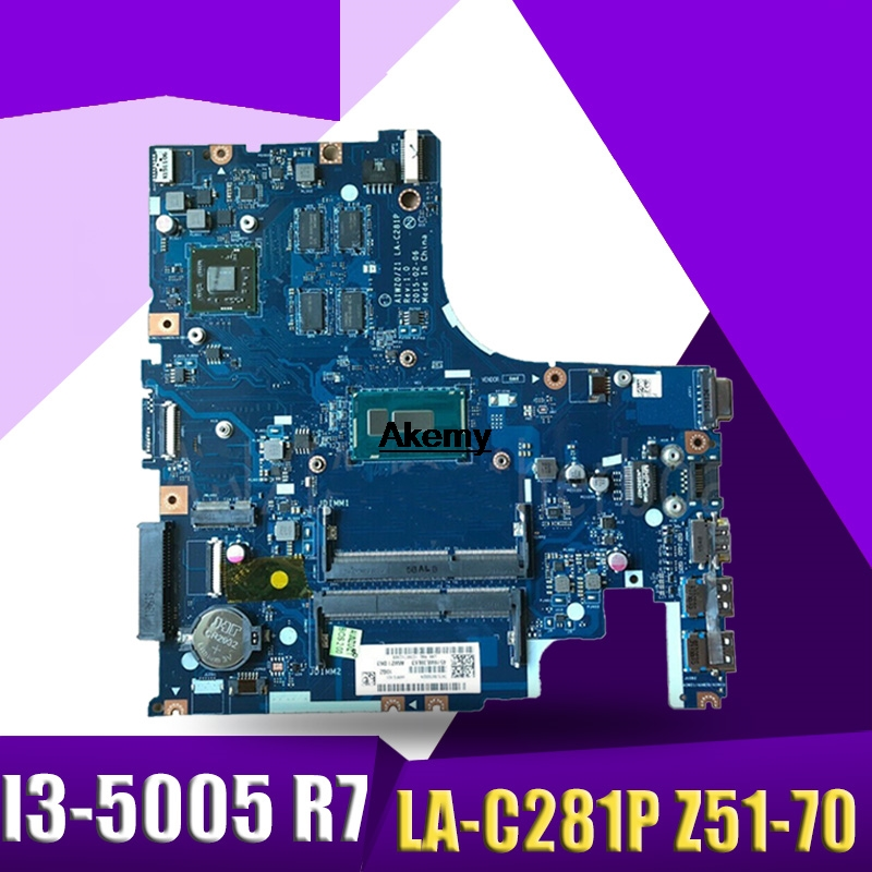 Akemy AIWZ0/Z1 LA-C281P Laptop Motherboard For Lenovo Z51-70 Test Original Mainboard I3-5005U R7-Video