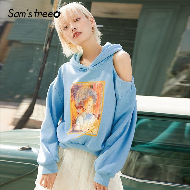 SAM'S TREE Pink Print Warm Hoodies Sweatshirt Women 2020 Winter Blue Korean Off Shoulder Sleeve Casual Office Ladies Daily Tops