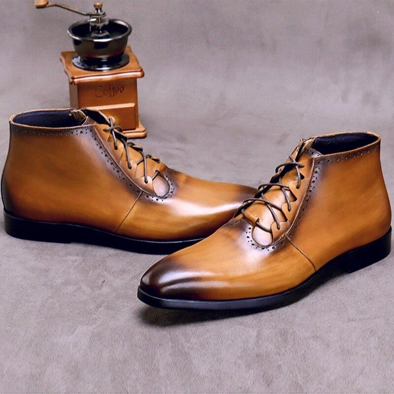 Модные мужские ботильоны на шнурках из натуральной кожи ручной работы; Мужская обувь для верховой езды с высоким берцем на квадратном каблу... - 3