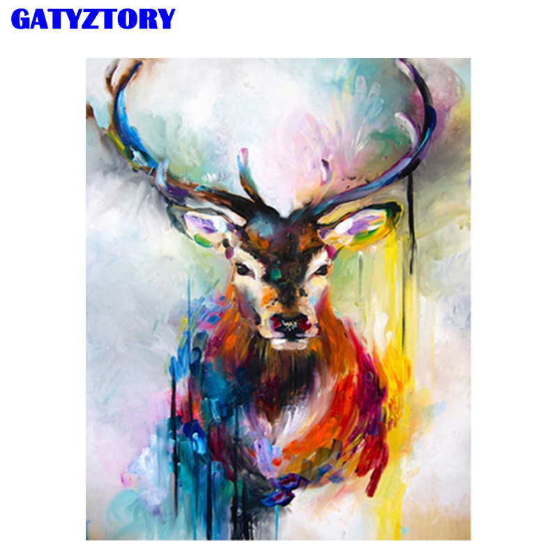 GATYZTORY Coloring Deer Frame DIY Paints By Numbers Home Decoration Oil Painting By Numbers Full Set For Adults