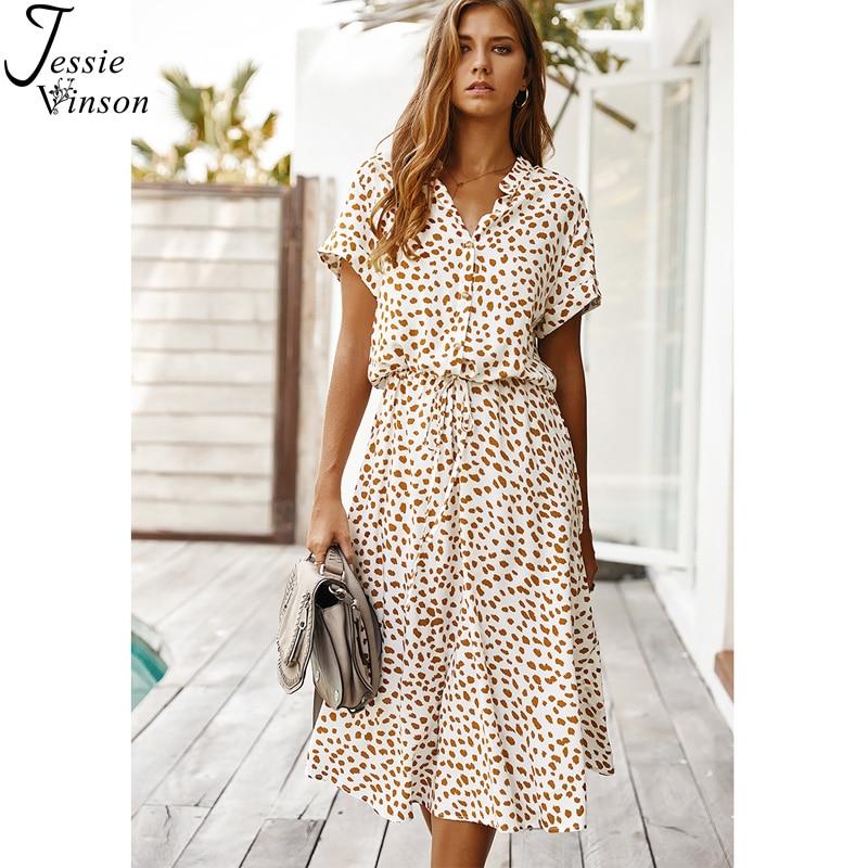 Jessie Vinson Dots Print White Summer Dress Women Short Sleeve Tunic Midi Dress Casual Boho Beach Dress Vestidos 2020 ZA Dress(China)