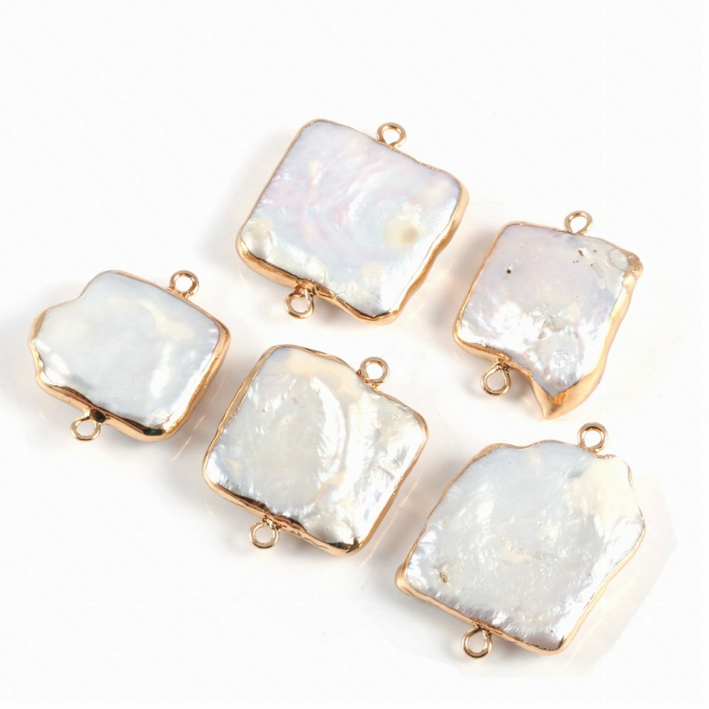 Natural Square Pearl Shell Connector Fashion Jewelry DIY Bracelet Necklace Charmfor Jewelry Making  Size 20*25mm