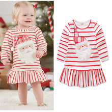 Autumn Winter Girls Dresses Cute Cotton A Line Clothing Party Long Sleeve Clothes Kids Christmas Dress For Children Costume