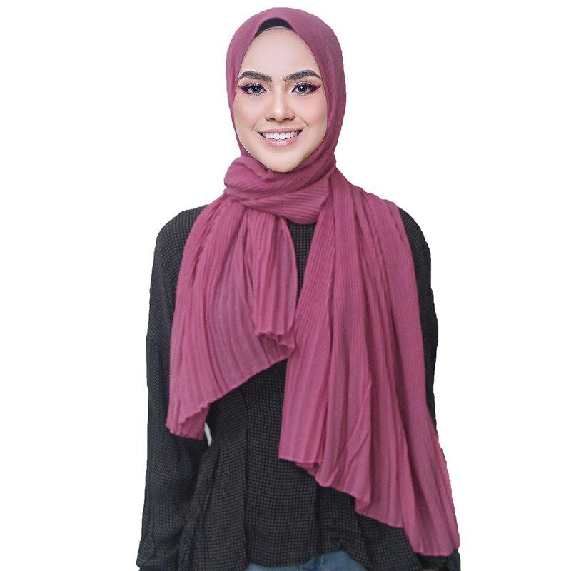 pleated plain maxi hijab scarf color patchwork scarves shawls big size woman popular muslim wrinkle scarfs