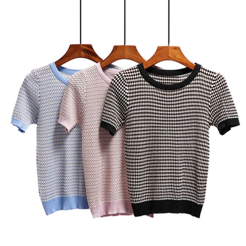 Summer Harajuku Tshirt Women Black Pink Short Sleeve Ladies Knitted Tshirt Zaraing Casual O Neck Cotton Tops Clothes Women 2019