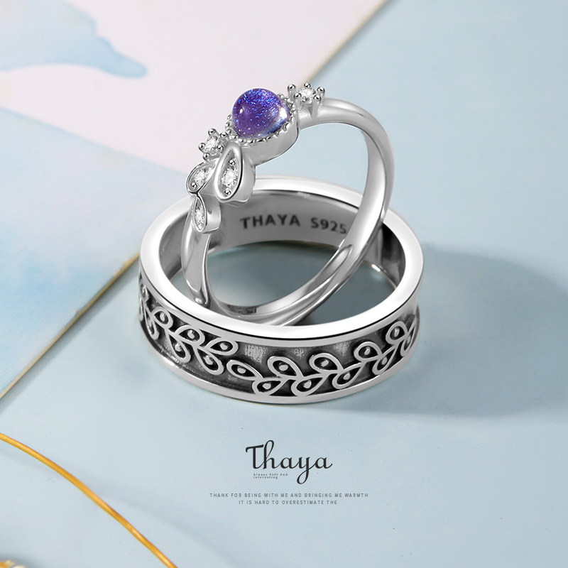 Thaya Provence Design Inspiration Women Man Rings 925 Silver Bohemia Zircon Unique Purple For Couples Engagement Gift