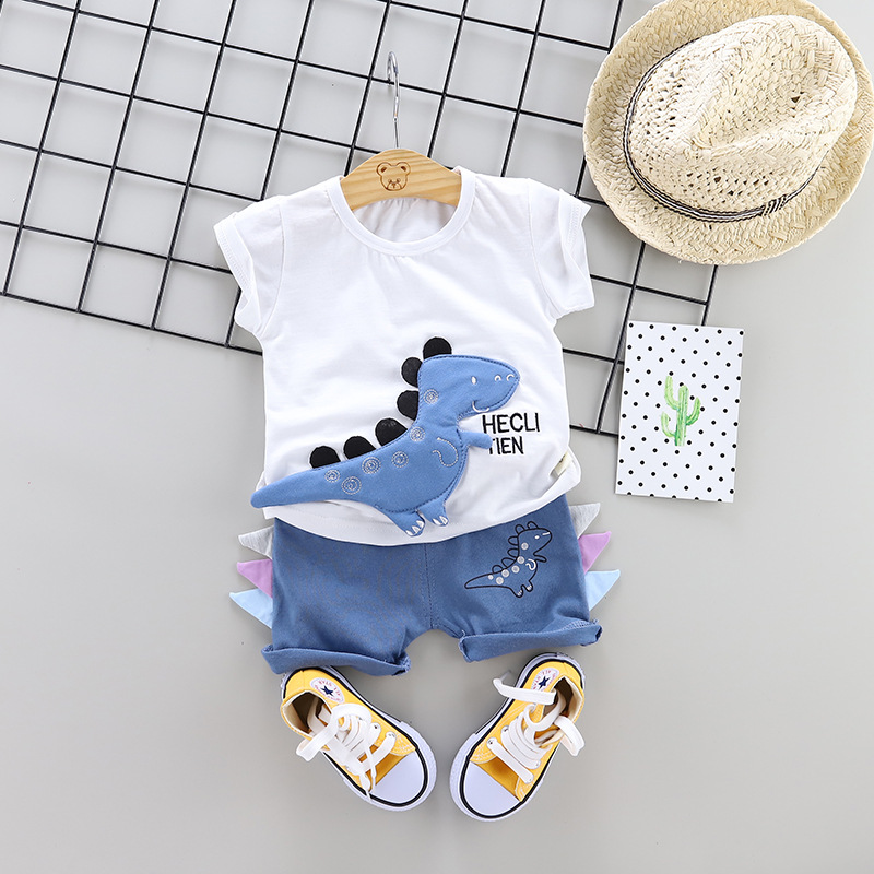 Toddler Boys Clothes Set Summer Dinosaur Baby Boys Clothes Cartoon T-shirt+Shorts Tracksuit Suit For Kid Outfit Children Clothes