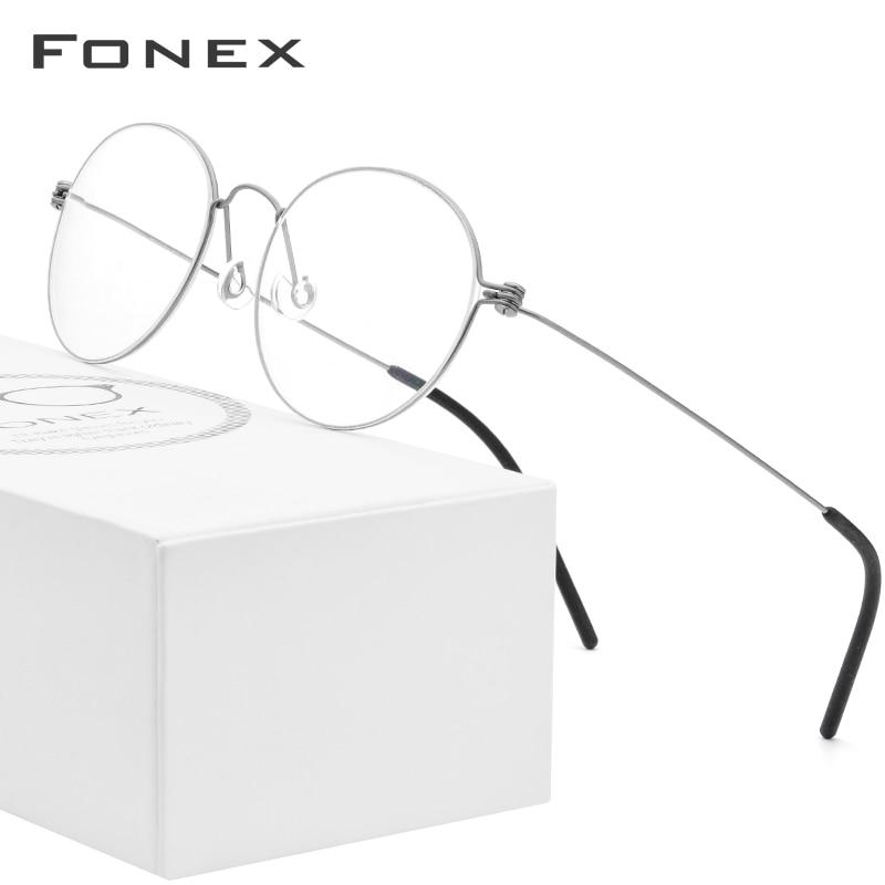 FONEX B Titanium Glasses Frame Women Prescription Eyeglasses Men 2019 New Korean Myopia Optical Frames Screwless Eyewear 7510-in Women's Eyewear Frames from Apparel Accessories