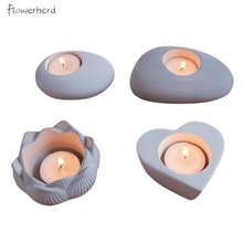 Diy Candle Mold Home Decoration Soap Making Supplies Candlestick Cement Concrete Silicone Mold Lotus Heart Aromatherapy Plaster