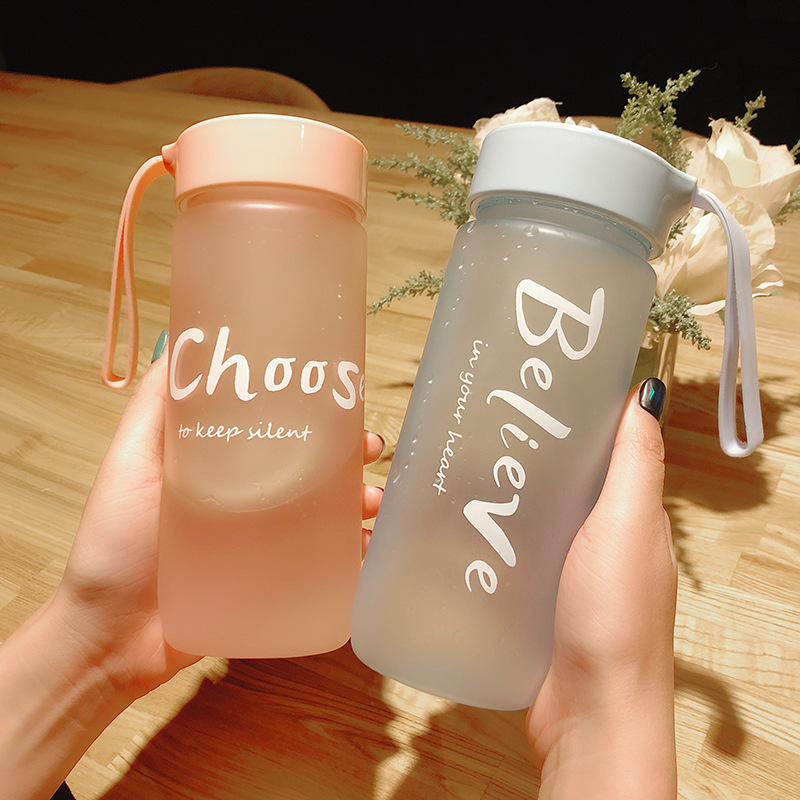 Large capacity 550ml creative frosted portable kawaii cute fashion casual personality outdoor travel sports fitness water cup
