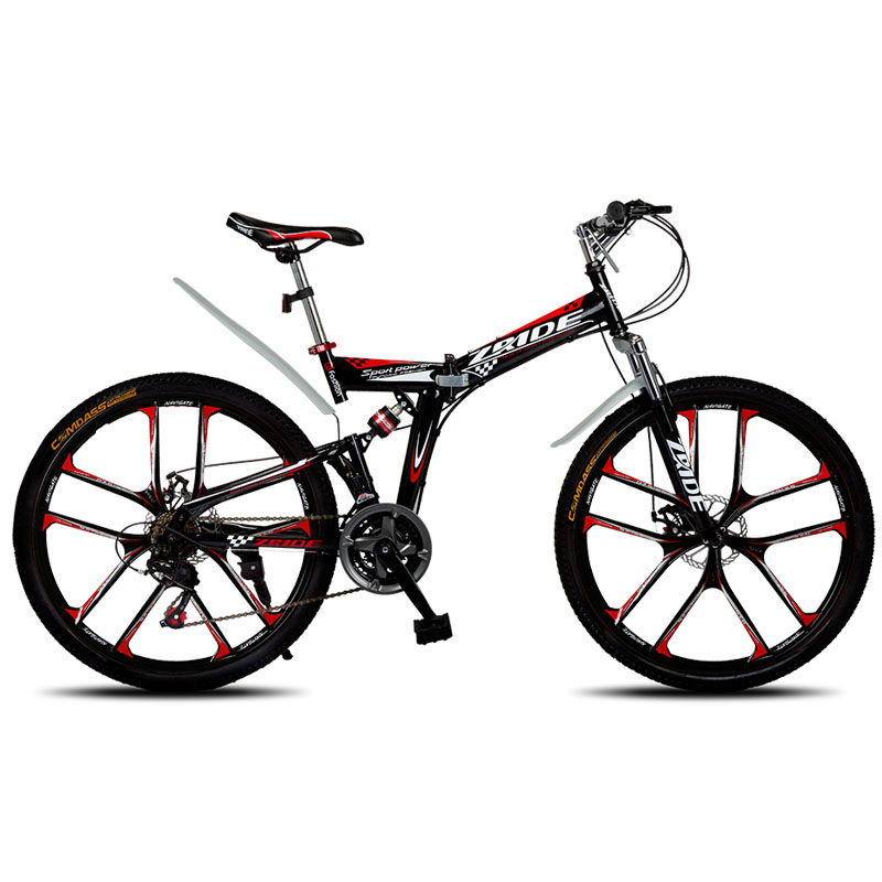Mountain Bike 26 Inch 21/24/27/30 Speed 10 Knife Folding Mountain Bicycle Double Disc Brake 2019 New Suitable For Adults