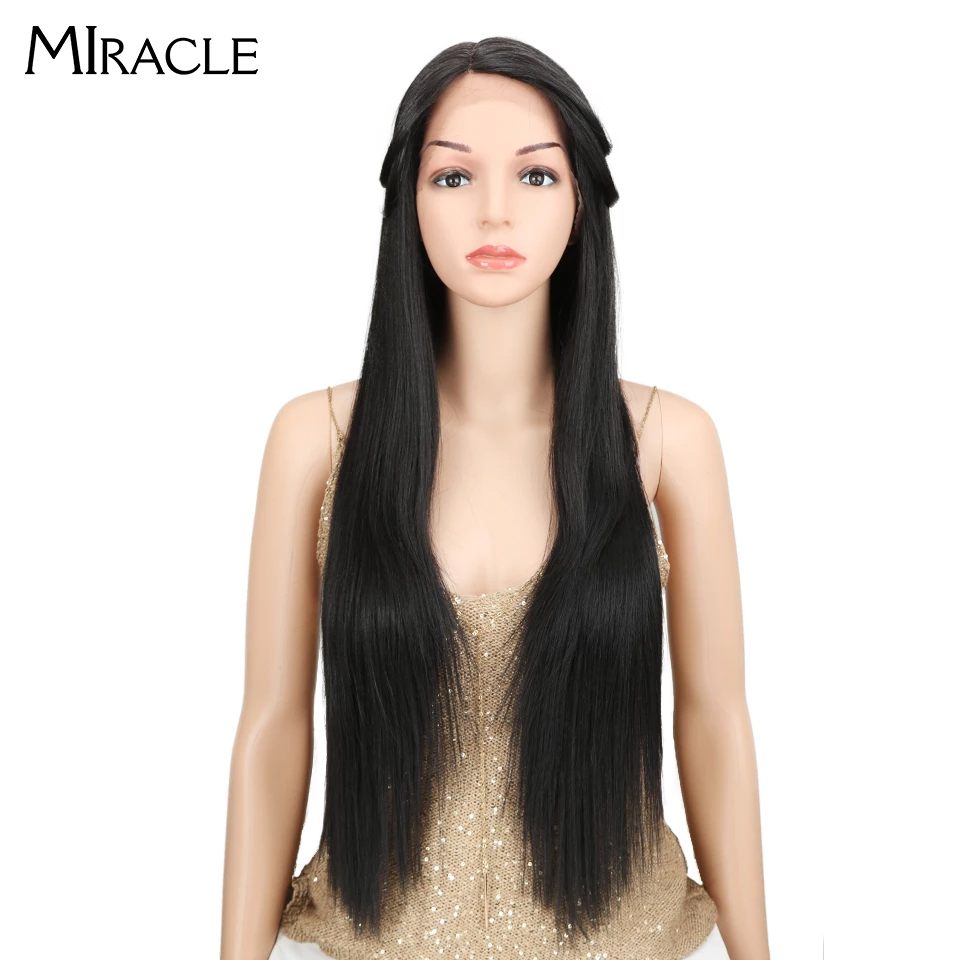 Miracle #1B Natural Black L Side Part Straight Synthetic Hair Wigs For Women Heat Resistant Fiber Lace Front Wig