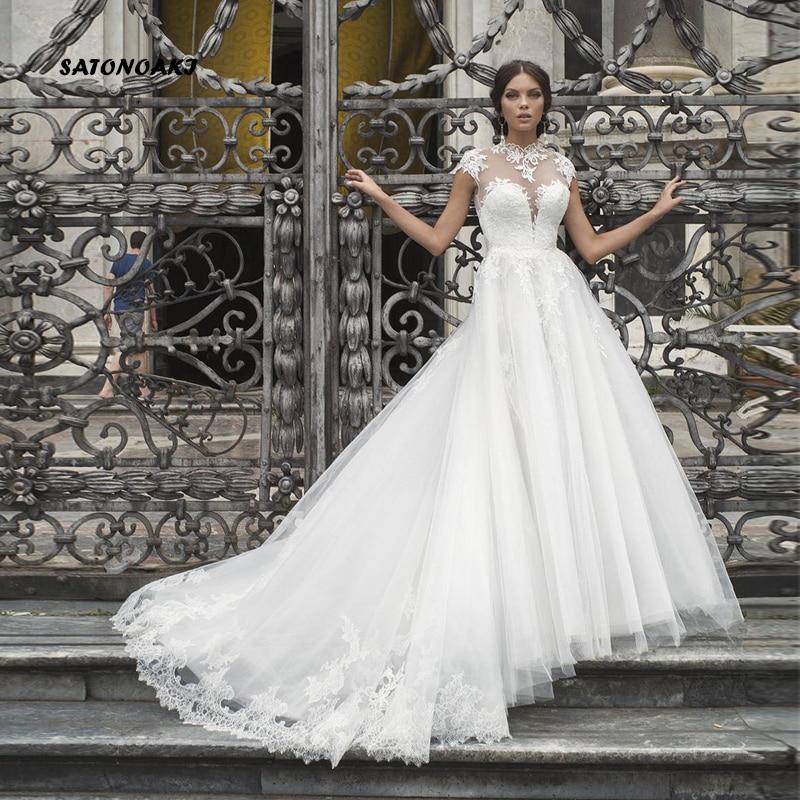 SATONOAKI Hoge Hals Kant Trouwjurken Cap Sleeve Sheer Hals EEN Lijn Bruidsjurken Geappliceerd Vintage Bridal Jurken